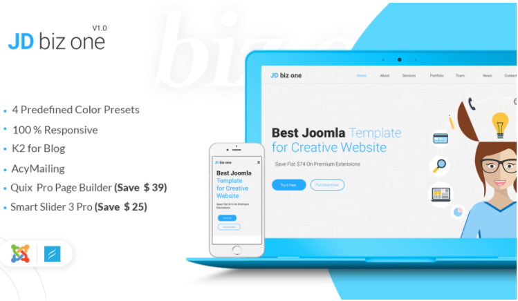 Responsive Joomla One Page Template